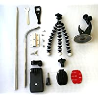 Nunet Camera mounting kit for NuCam WR. Suction Cup, Gopro Clip, 3M Sticky Mounting Pad, Flexible Tripod, Aluminum stake and screws for secure mounting. Compatible with GoPro and other Action Cameras