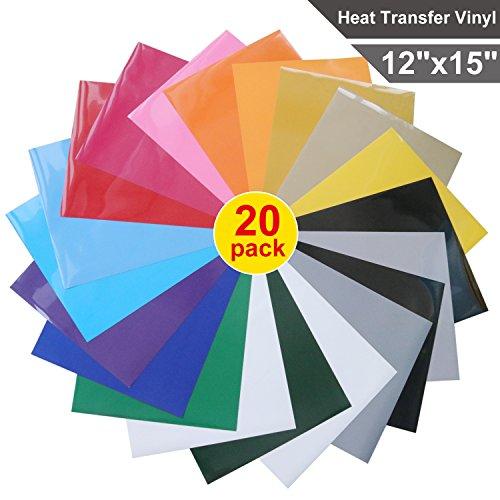 Heat Transfer Vinyl for T-Shirts , 20 Pack - 12
