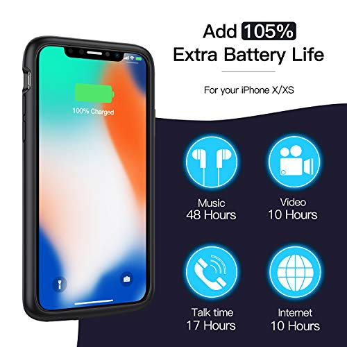Battery Case for iPhone X/Xs/10, 4100mAh Ultra Slim Portable Protective Charging Case Extended Rechargeable Battery Pack…