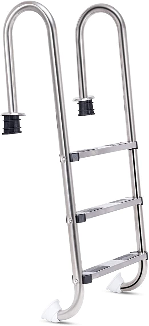 GOPLUS - Escalera de 3 peldaños para piscina, acero inoxidable, anticorrosión, con pedales antideslizantes, robustos, base de soporte de plástico, 1320 x 500 x 265 mm, color plateado: Amazon.es: Jardín