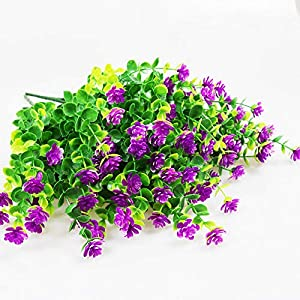 YOSICHY Artificial Flowers, Fake Outdoor UV Resistant Plants Faux Plastic Greenery Shrubs for Outside Hanging Planter Home Kitchen Office Wedding Garden Decor(Fushia) 2
