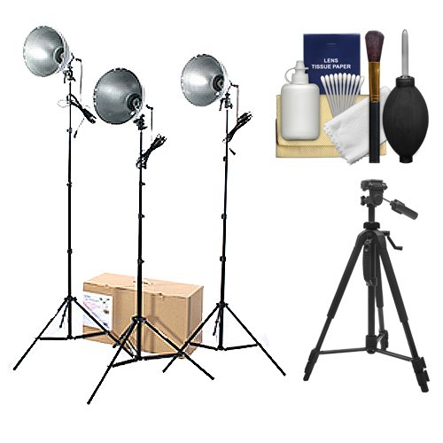 - RPS Studio 3 Light Photoflood, Reflector & Stands Studio Kit (RS-4003) with Tripod + Cleaning Kit