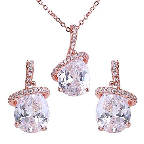 EleQueen Women's Rose Gold-Tone Prong Zircon Ribbon Teardrop Bridal Pendant Necklace Dangle Earrings Set Clear ()