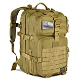 LeisonTac Tactical Backpack Military ISO Standard for Hunting Hiking Travel & Camping | Heavy Duty Nylon Stitching Water Resistant Small Rucksack with Hydration Bladder Compartment (Coyote)