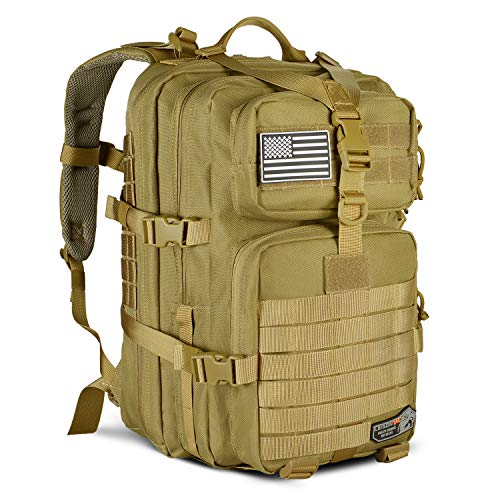 LeisonTac Tactical Back Pack Military ISO Standard for Hunting Hiking Travel & Camping | Heavy Duty Nylon Stitching Water Resistant Small Rucksack with Hydration Bladder Compartment (Coyote) (Tactical Backpack)