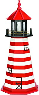 product image for DutchCrafters Decorative Lighthouse - Wood, West Quoddy Style (4', Red/White)