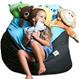 SMART WALLABY Storage Bean Bag Chair Soft Toys, Stuffed Animals, Clothes, Linens Blankets. 2 Sizes in-1 Expands to Reach XXL. Large Seating Area. Choose from 4 Stylish Designs