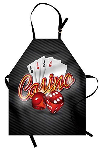 Lunarable Poker Tournament Apron, Vibrant Dices and Playing Cards Casino Themed Luck Risky Games Design, Unisex Kitchen Bib Apron with Adjustable Neck for Cooking Baking Gardening, Multicolor]()