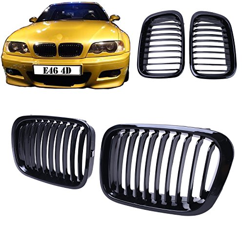 Price comparison product image General Mega Gloss Black Kidney Front Grille Grill Hood Nose for BMW E46 Sedan 4DOOR 1998-2001