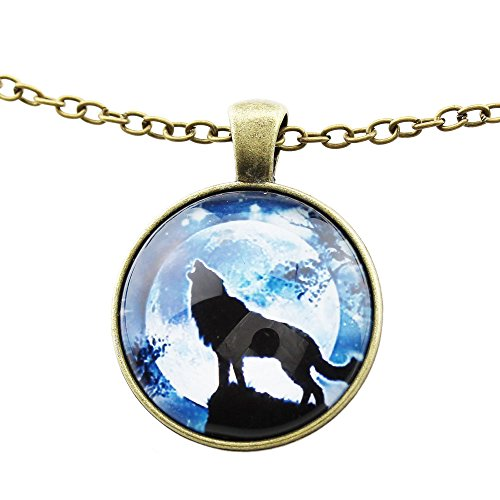 [FOY-MALL Novelty Time Gem Wolf Pendant Necklace XL1283] (Lobster Claw Costume Pattern)