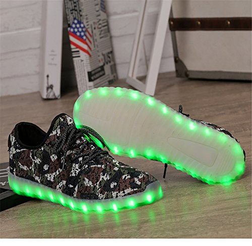 New Men LED Knit Shoes Light Sneakers up Camouflage Sport Camo for Grey Women Mesh Tennis Dance RRYwArx