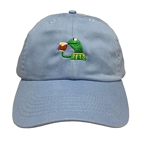 Kermit The Frog Costume For Men (KERMIT TEA Hat StrapBack none of my business Emoji Frog James meme Cap)
