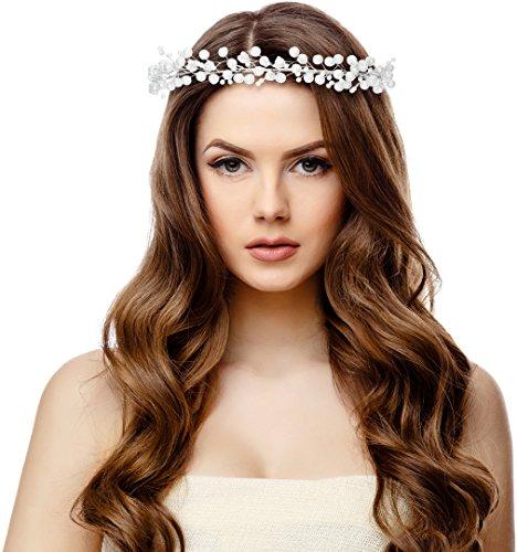[Pageant Bridal Wedding Prom Rhinestone Crystal Flower Crown (Pearl)] (Cat Doesnt Like Halloween Costume)