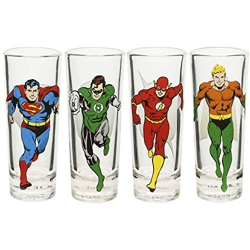 (Zak Designs JUSG-S432 DC Comics Mini Glasses 2oz 4 Piece Justice League)