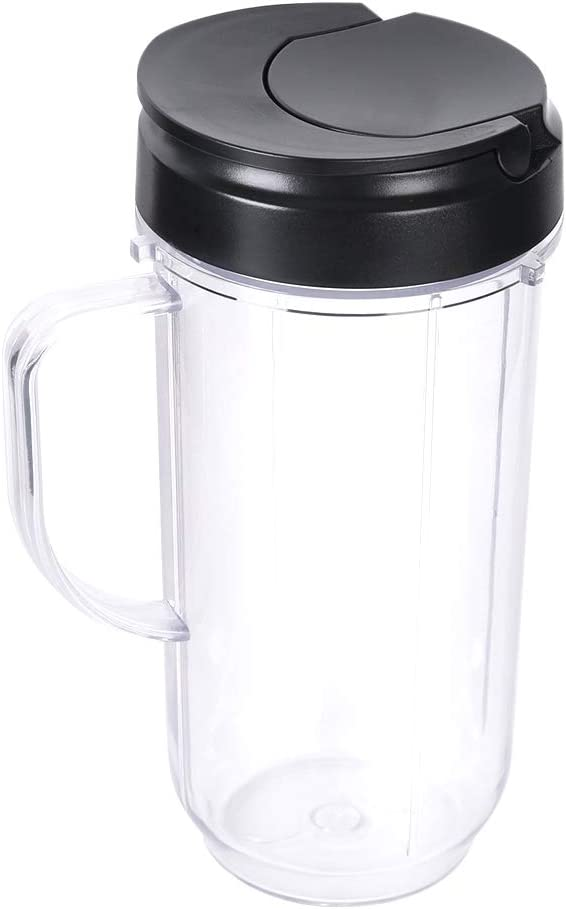 Veterger Replacement parts 22oz Tall Mug cup with Flip Top To-go Lid, Compatible with Magic Bullet 250W Blender Juicer
