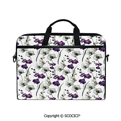 (Portable Ultrabook Soft Sleeve Laptop Bag Case Cover Wild Orchid Family Flowerpot Plants with Blooms Romantic Floral Decor Art Decorative Compatible with HP Dell Lenovo)