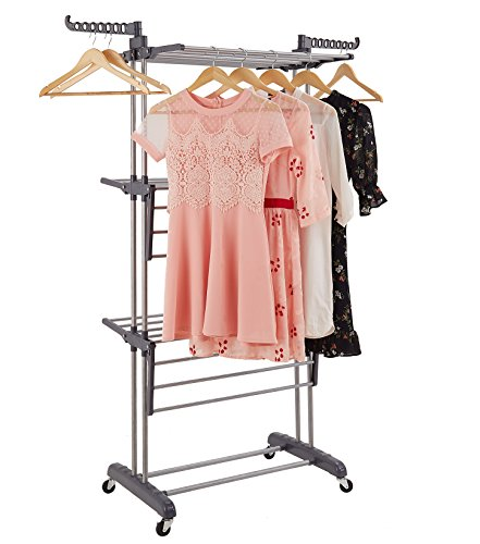 ProAid 3-Tier Rolling Clothes Drying Rack with Upgraded Industrial Wheels, Adjustable Laundry Rack with Foldable Wings Shape Hanging Rods, Gray