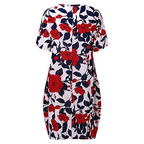 Celmia Femmes Court Cru Col Rond Floral Motif Imprimé Occasionnel Robe Longue Midi Avec Poches Latérales S
