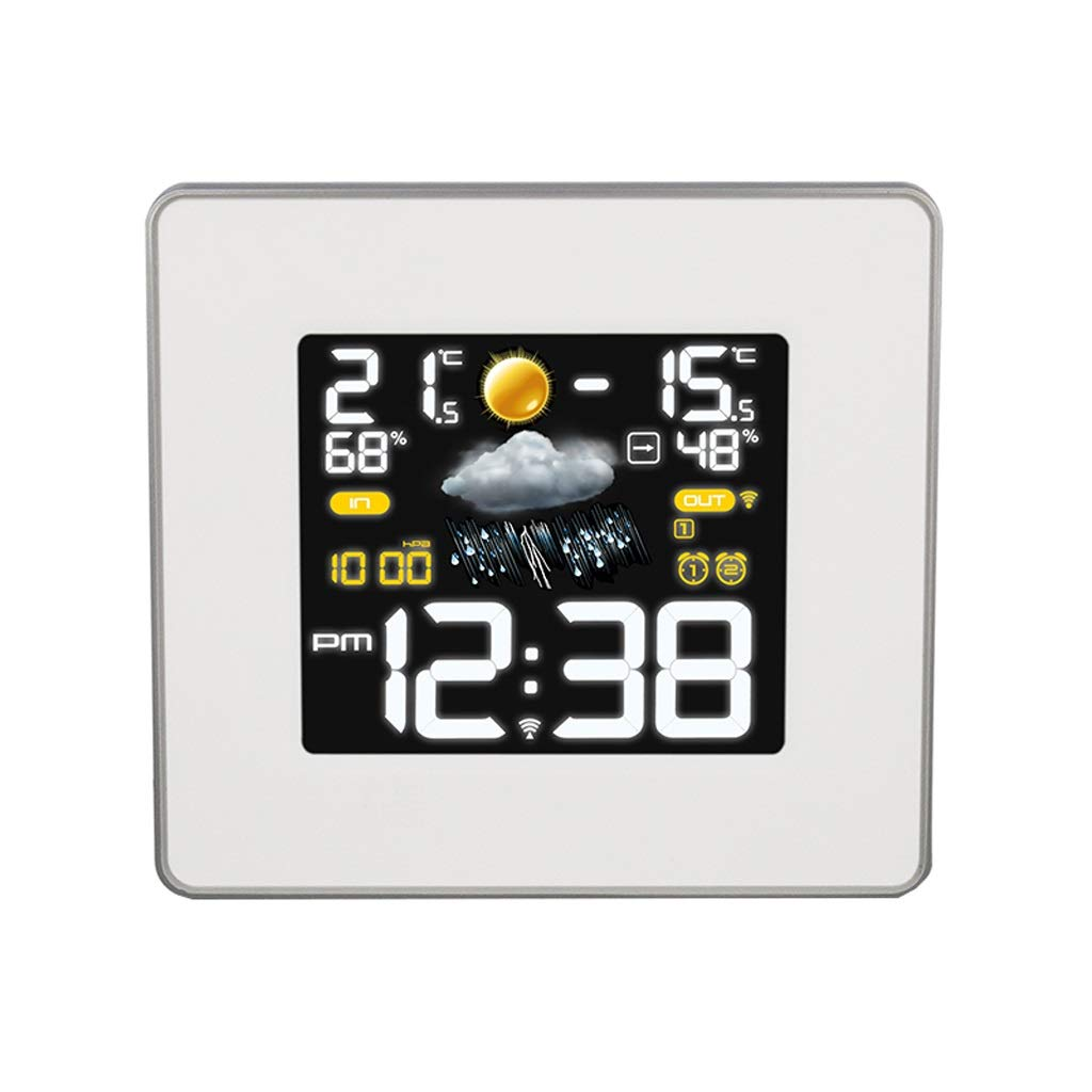 Weather Forecast Electronic Alarm Clock 4 Color Weather Mode Indoor and Outdoor Temperature and Humidity Display (Color : White) by Xu Yuan Jia-Shop-Weather Monitoring Clocks