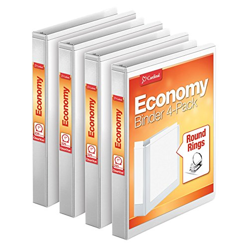 "Cardinal Economy 1"" Round-Ring Presentation View Binders, 3-Ring Binder, Holds 225 Sheets, Nonstick Poly Material, PVC-Free, White, 4-Pack (79510)"