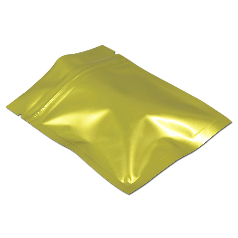 100Pcs 14x20cm (5.5x7.9 inch) Gold Aluminum Mylar Foil Packaging Bags Zip Lock Food Long Term Storage Resealable Storage Pouch Retail