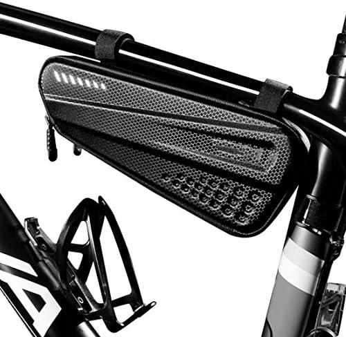 サドル自転車バッグフロントチューブフレームバッグハードシェル防雨バイクバッグダブルジッパートライアングルツールポーチサイクリングアクセサリー,黒,1.2L
