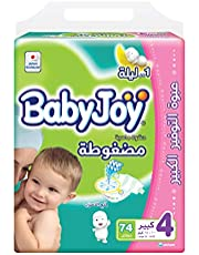 BabyJoy Compressed Diamond Pad, Size 4, Large, 10-18 kg, Giant Pack, 74 Diapers