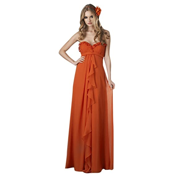 Dearta Womens Empire Sweetheart Floor-Length Evening Dress UK 6 Pumpkin