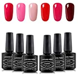 Beauty : Lagunamoon Gel Nail Polish Set 6 Colors Gel Nail Varnish Soak Off Nail Art Manicure Gel Polish Set with Gift Box 8ML Require LED UV Nail Dryer Lamp -Be Cherry!