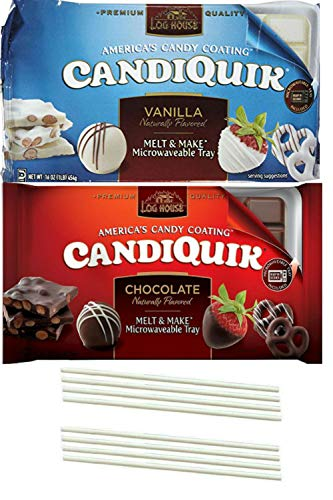 Bark Coating Chocolate - Candiquik Vanilla and Candiquik Chocolate Melting Wafers. One Stop Shopping for the Best White Vanilla and Chocolate Candy Coating. Baking and Microwave Friendly. Also includes 8 Dipping Sticks.