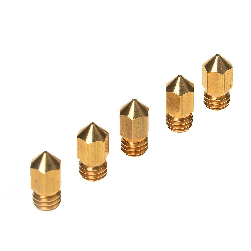 5PCS 3D Printer 0.4mm Extruder Brass Nozzle Print Head for MK8 1.75mm ABS PLA Printer Y075 LOTW