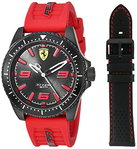 Ferrari Men's 'XX KERS' Quartz Stainless Steel and Silicone Casual Watch, Color:red (Model: 830484)