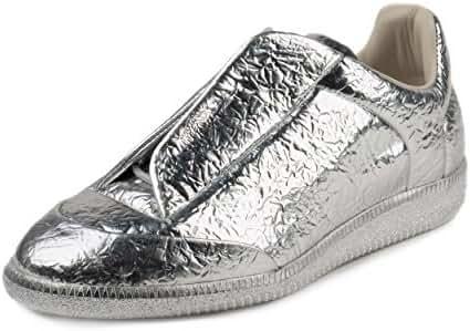 Maison Margelia Mens Future Low Metallic Silver Leather