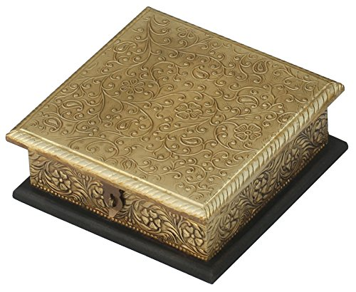 PRIME DEALS – MUGAL INSPIRED BRASS Vintage Jewelry Box – Ornate Golden 6×6 Handmade Golden Finish Trinket Box Decorated in Brass – Rings Necklace / Ea…