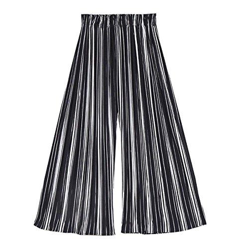 Donna Strisce di Pantaloni Estivi Colpo Larghi Verticali Taille Moda Pantalone Pantaloni Nahen Mode Pantaloni 3 Libero Tempo Casual 4 marca Eleganti Nero Cq5xRWaWn6