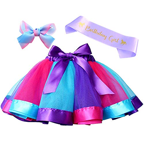 Layered Rainbow Tutu Skirt Costumes Set with Hair Bows Clips and Satin Sash for Girls Birthday Party Dress up (Purple/Blue/Rose Rainbow, - Blue Hair Dress