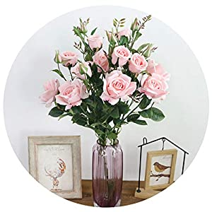 Artificial 6 Heads Roses Silk Flowers Artificial Flowers for Wedding Home Party Decorations Table Centerpiece 75