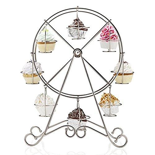 8 Cups Metal Rotating Ferris Wheel Cupcake Dessert Stand Holder Display Wedding