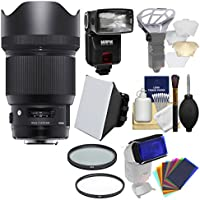 Sigma 85mm f/1.4 ART DG HSM Lens with Flash + Soft Box + Filters Kit for Sony Alpha E-Mount Cameras