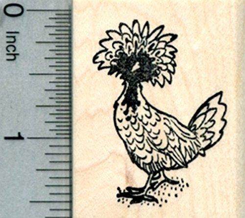 Polish Crested Chicken Rubber Stamp, Hen