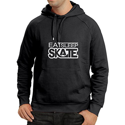 Hoodie Eat Sleep Skate - for Skaters, Skate Longboard, Skateboard Gifts (X-Large Black Fluorescent) ()