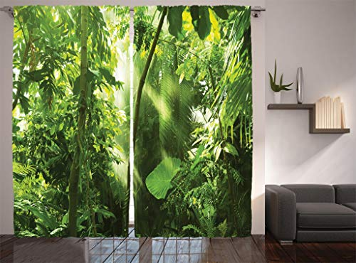 Ambesonne Farm House Decor Collection, Summer Sunbeams Come into Tropical Monsoon Jungle with Bamboos Types of Plants with Leaves View, Living Room Bedroom Curtain 2 Panels Set, 108 X 84 Inches, Green