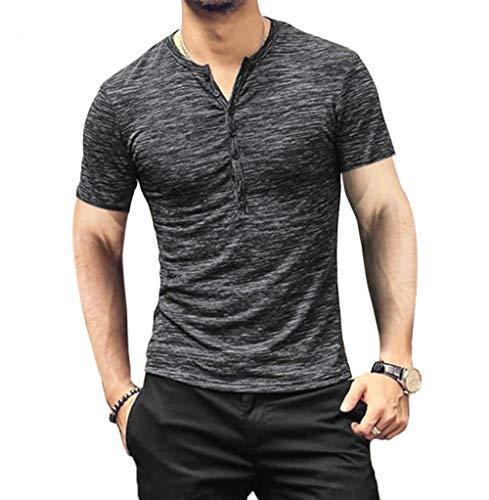 (Men's Soild Henley Short Sleeve Tops Buttons Front Casual T Shirts Tee (XL, Grey) )