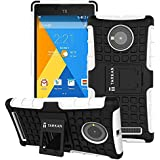 TARKAN Hard Armor Hybrid Rubber Bumper Flip Stand Rugged Back Case Cover for Micromax YU Yuphoria - White