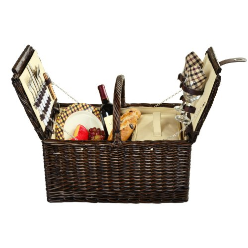 Picnic at Ascot Surrey Willow Picnic Basket with Service for 2 - London Plaid by Picnic at Ascot