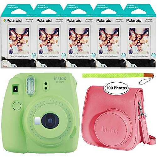 Fujifilm Instax Mini 9 Instant Camera (Lime Green), Groovy Case and 5X Twin Pack Instant Film (100 Sheets) Bundle