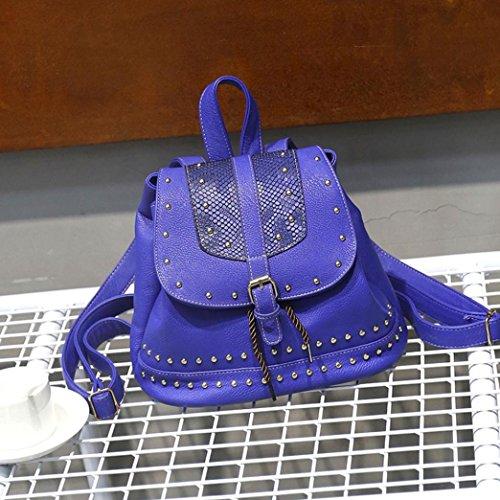 À D'école Vintage À Sac Sac Femmes Dos Sac Cordon Bleu Rivet TM Coloré Dos Mode Décoration q6wAHnXX4