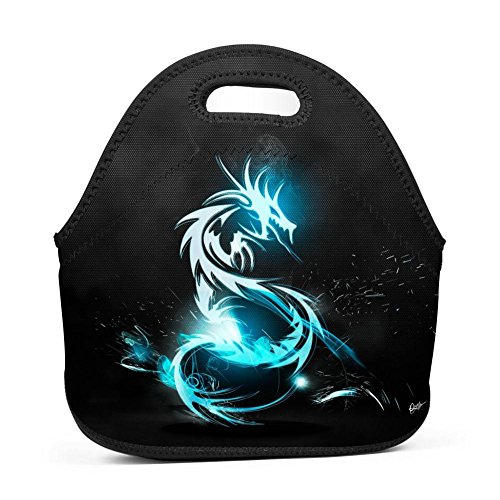 Dragon Symbol Neoprene Lunch Tote Thick Insulated Lunch Bag Portable Thermal Lunchbox Waterproof Outdoor Picnic Travel Holiday Handbag with Zipper for Men Women Adult Kids Boys Girls