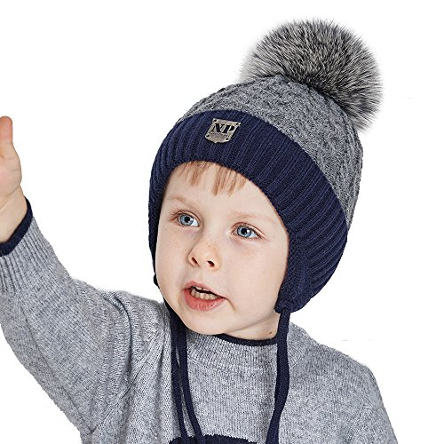 Toddler Winter Hat For Kids Real Fox Pom Pom Beanie With Ear Flaps For Boys and Girls (Childrens Ear Flap Beanie)