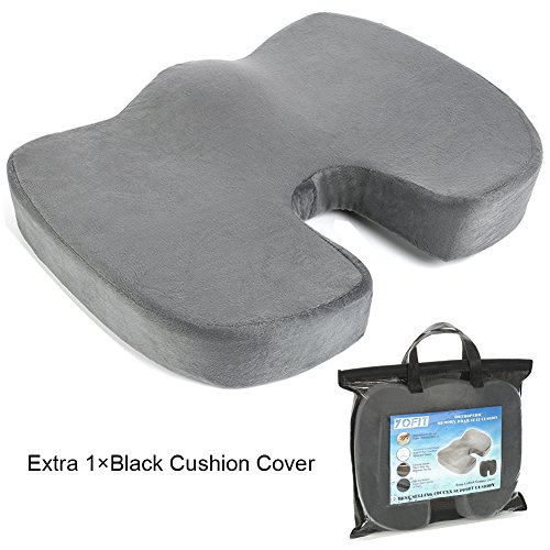 YOFIT Memory Foam Seat Cushion for Office Chair,Car Seat Cushion Wheelchair Seat Cushion Coccyx Pain Cushion Comes with Free Black Cushion Cover and Carrying Case